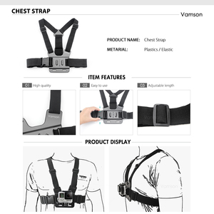 Image 2 - Vamson for DJI OSMO Action Camera Accessories for go pro Hero 7 6 5 4 Tripod Head Chest Strap for Xiaomi Yi4K  VS22