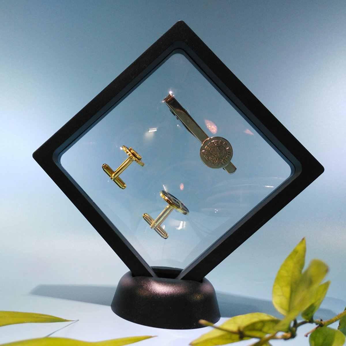 10 sztuk/lotSquare albumy 3D pływający uchwyt ramki pudełko na monety biżuteria wyświetlacz pokaż biżuteria wyświetlacz pojemnik ekspozycyjny