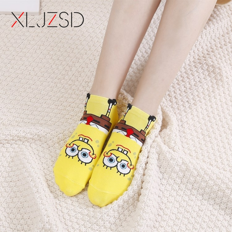 1pair/5pair 2019 New Socks Women Cotton Famale Harajuku Fashion Cartoon Cute SpongeBob Print Pattern Funny Socks Casual Hot Sale
