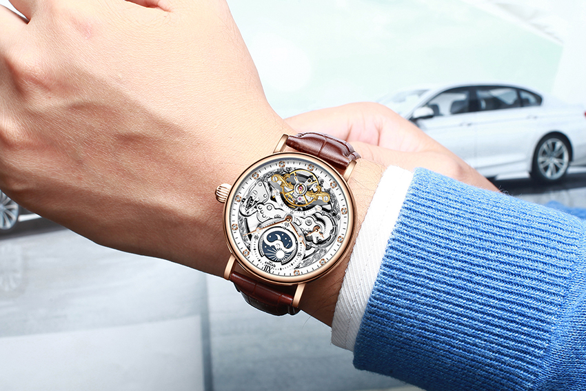 H6eed7411874c46f08ca57f5583a89bfbA KINYUED Skeleton Watches Mechanical Automatic Watch Men Tourbillon Sport Clock Casual Business Moon Wrist Watch Relojes Hombre