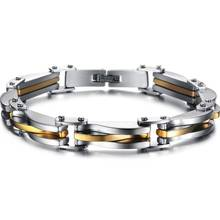Two Tone Stainless Steel Men's Chain Link Bracelet Wristband Cuff Bangle 22cm High Quality Rock Man Pulseiras Gifts цена