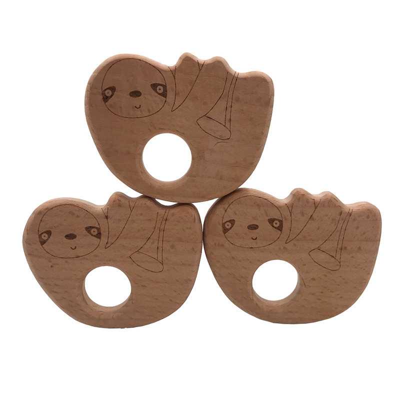 1Pc DIY Lovely Animal Sloth Natural Beech Wood Teether Pacifier Chain Safety CE Certification Woode Baby Teether Toy For Newborn