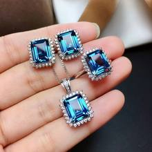 MeiBaPJ Natural London Blue Topaz Gemstone Rectangle Jewelry Set 925 Pure Silver 3 Pieces Suit Wedding Jewelry for Women(China)
