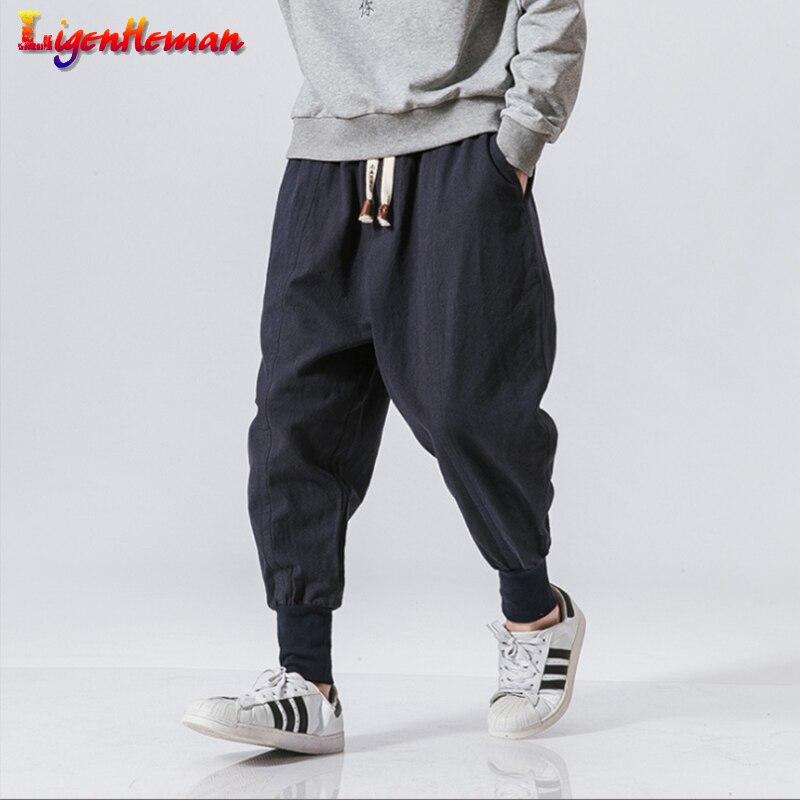 Men Japanese Jogger Sweatpants 2020 New Linen Pencil Pants Man Chinese Baggy Pants Men Streetwear Harem Pants Casual Trouser 5XL