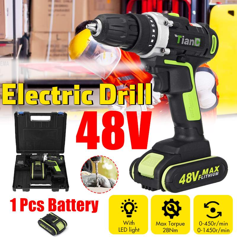 Efficient 48V 2 Speed Cordless Drill Electric Screwdriver Mini Wireless Power Driver With 1/2pcs DC Lithium-Ion Battery