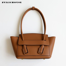 ZURICHOUSE Luxury Women Handbags Palm Print Genuine Leather Hand Bag Ladies High Capacity Handheld Shopping Totes Purse