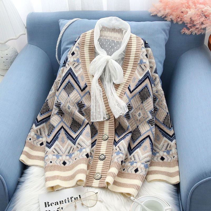 2019 winter new knitted cardigan v-neck thicken warm women sweater loose all match female outwear coat tops