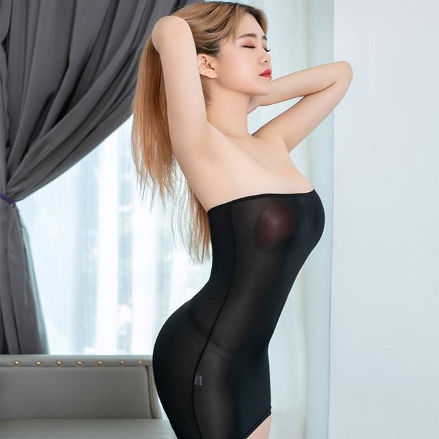 Sexy Tight Pencil Cute Dress Ice Silk Smooth See Through Mini Dress Bodycon Bandage Dress Adult Night Club Fantasy Erotic Wear