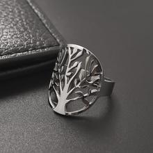 цена 3mm Classical Stainless Steel Tree Life Ring for Women Men Fashion Jewelry New Simple Finger Accessories Wedding Band Party Gift онлайн в 2017 году