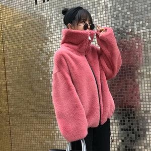 Image 4 - אופנה מותג פלאפי גדול צווארון פו פרווה מעיל נשי עבה חם שועל פרווה חזיית רוכסן תפרים מעיל עם שרוך