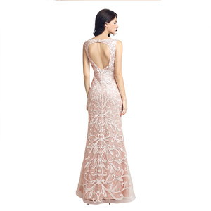 Image 2 - Real Picture Long Lace Mermaid Evening Dresses Fast Delivery Sequined O Neck Open Back Women Formal Party Gowns OL212