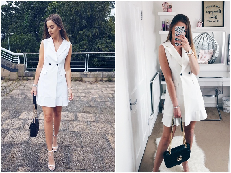 Simplee White blazer work dress women V neck ruffle A line slim sleeveless party dress Office ladies short white dress vestidos 4