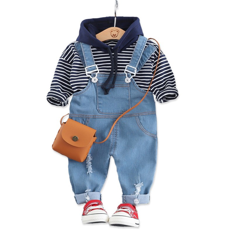 Spring Children Boys Girls Cotton Clothing Sets Fashion Baby Striped Hooded T-shirt Jeans 2Pcs/Sets Infant Toddler Tracksuits