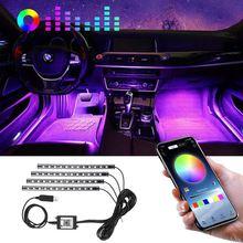 Автомобильный светодиодный светильник s, внутренняя внешняя ножная лампа, 4 шт., 48 светодиодных RGB лент, usb-порт, приложение для телефона, деко...
