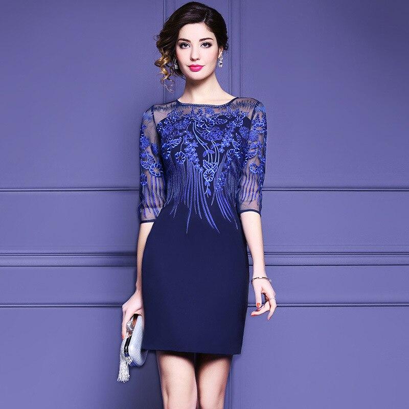 Женское платье, тонкое летнее платье, Сетчатое, с вышивкой, синее, с высокой талией, одноцветное, половина рукава, прямое, с круглым вырезом, п
