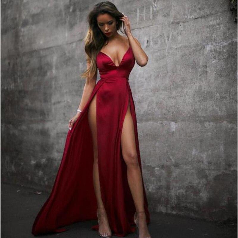 Robe longue en Satin pour femmes, sans manches, col en v, robe de soirée