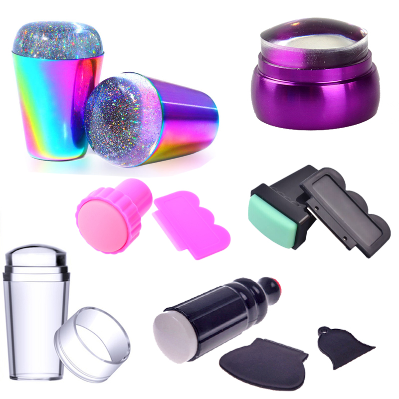 WAKEFULNESS Rainbow Handle Nail Stamper Scraper Rubber Head Clear Silicone Stamper For Nail Art Stamping Plate Template Tools