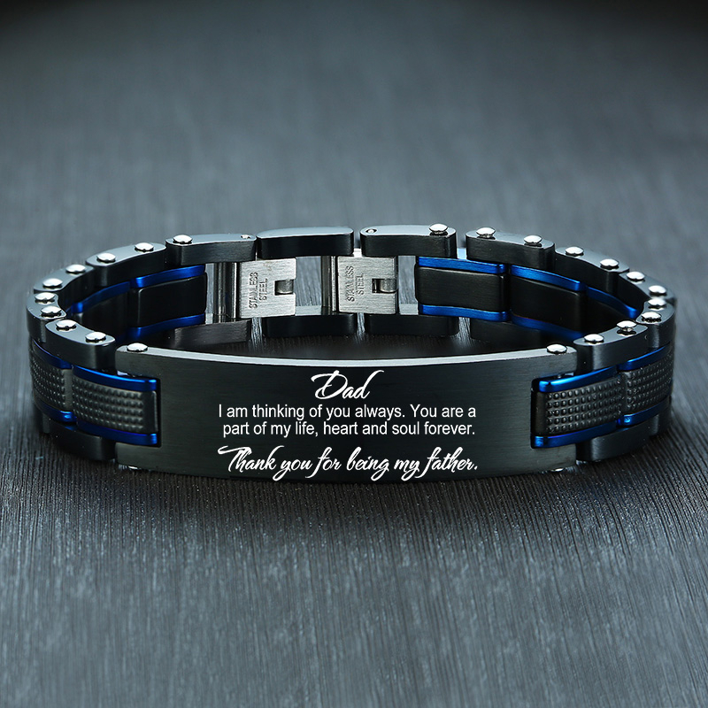 Vnox Personalize TO MY DAD Bracelets For Men Top Quality Black Heavy Stainless Steel Gents Wristband Custom Father's Day Gift