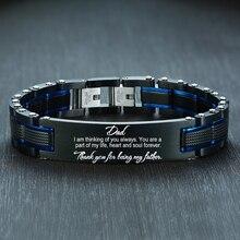 Vnox Personalisieren ZU MEINEM PAPA Armbänder für Männer Top Qualität Schwarz Schwere Edelstahl Herren Armband Individuelles Vater der Tag geschenk