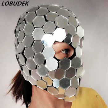 Male Female Dancer Team Space Dance Headgear Silver Mirrors Mask Costume Accessories Flashing Sequins Face Masked Stage Ornament