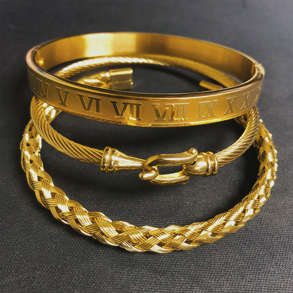3pcs/Set Royal Roman Bracelets & Bangles Cable Wire Love Bangles For Men Stainless Steel Pulseiras Men Jewelry Accessories