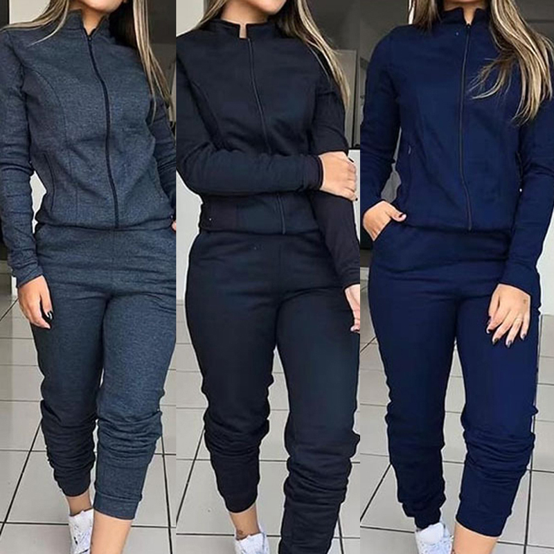 Vertvie Women Fashion Solid Tracksuit Sports Long Sleeve Sweatshirts Fleece Joggers 2-piece Running Set Workout Gym Autumn 2019