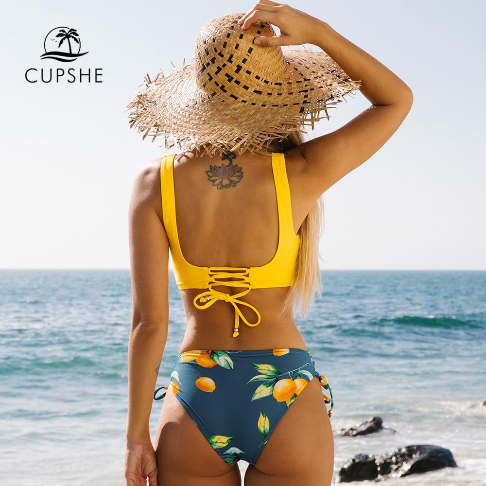 Yellow And Lemon Print Mid-Waist Bikini Sets 2