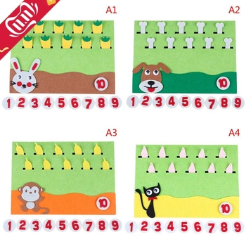 1Pc Felt Cartoon Card Early Teaching Kids by Hands Study Math The Numbers Add and Subtract Craft Toys For Children