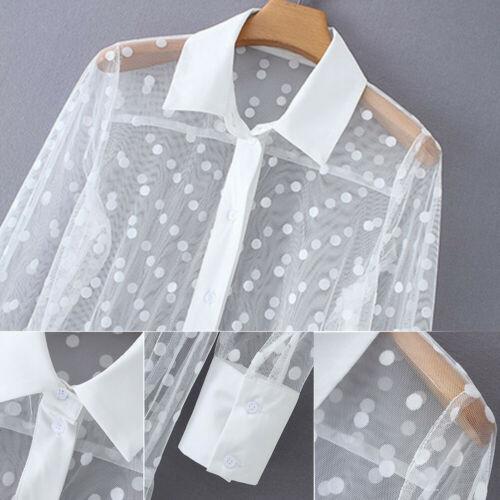 Boho Women See-through Cover-up Blouse Dot Maxi Dress V Neck Maxi Shirt Dress