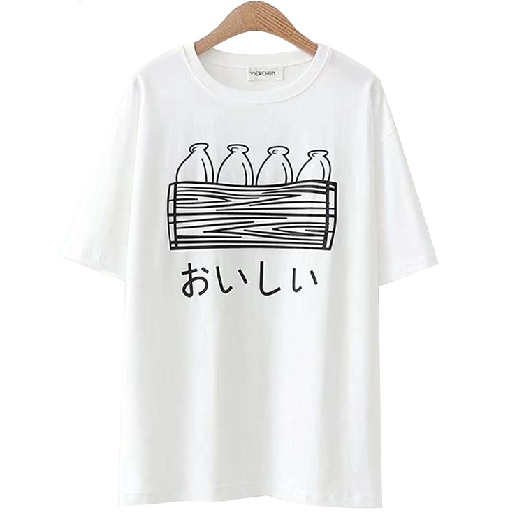 K8-<font><b>515</b></font> Japanese Style Simple Sweet Versatile Slimming <font><b>T</b></font>-shirt Women's College Style Printed Letter Short Sleeve image