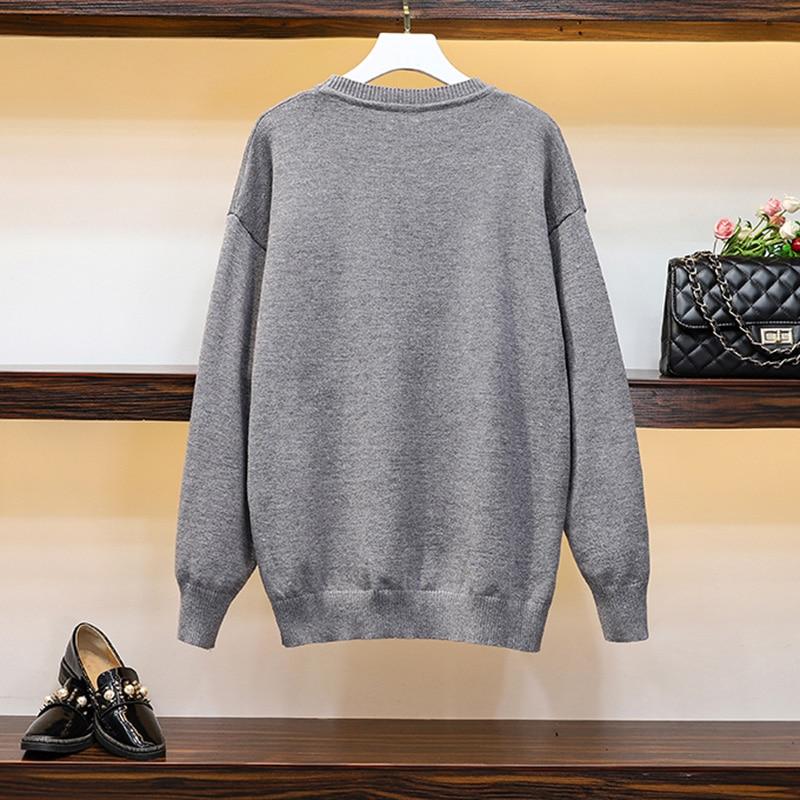 Черный Свободный вязаный свитер с надписью большие размеры женский
