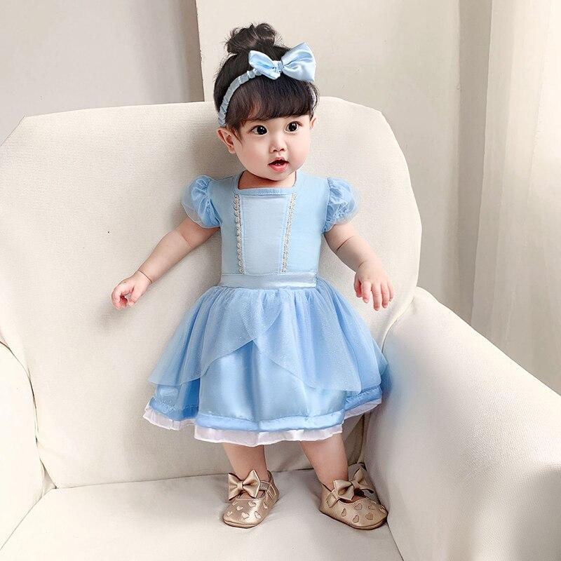 Novas meninas do bebê rastejando roupas de princesa vestido de bebê novo cinderela luz azul bebê vestido de crianças e roupas infantis