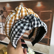 Cute Turbans Headband Check Pattern  Print Top Knot Headband  Knotted Bow Wide  Headband   Hair Band For Women cartoon pattern check tank top
