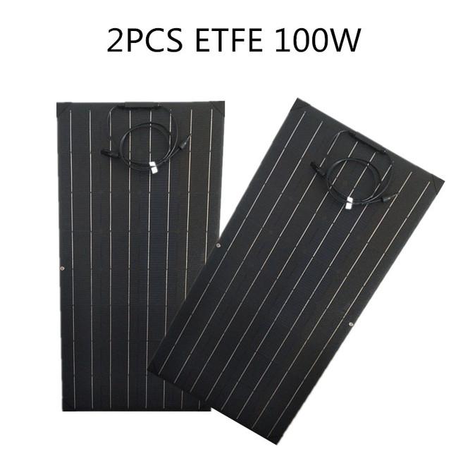 100W solar panel Monocrystalline Solar Cell Flexible for home Car/Yacht/Motorhome 12V 24 Volt 100 Watt Solar Battery charger