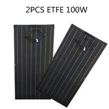 200W Gelijk 2Pcs 100W Zonnepaneel Monokristallijne Zonnecel Voor Thuis Auto/Jacht/Stoomschip 12V 24 Volt Solar Battery Charger