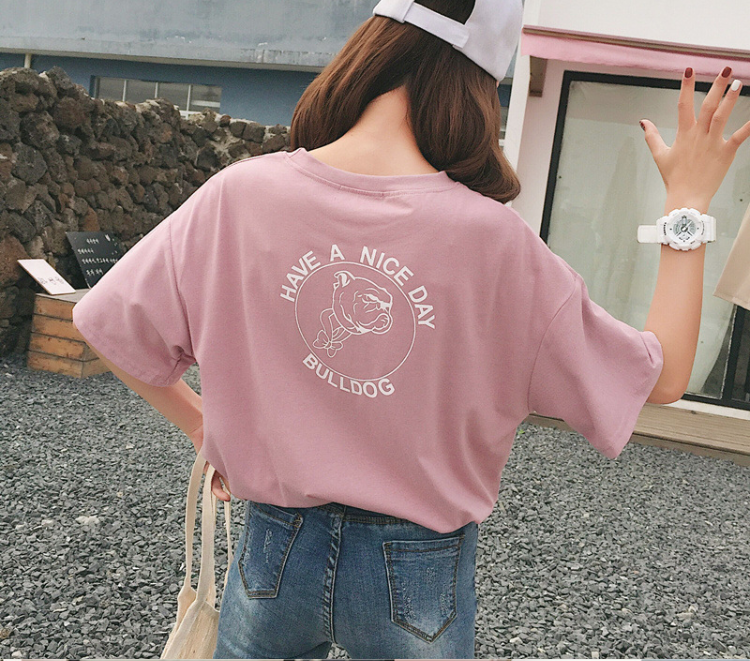 Have a nice dog bulldog t shirt harajuku women fashion peach color pure cotton kawaii japanese young street style graphic tees