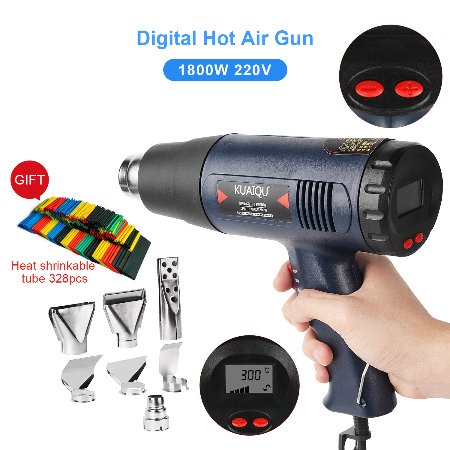 Digital Electric Hot Air Gun Temperature-controlled Building Hair Dryer Heat Gun Soldering Tools Adjustable+ 7pcs Nozzle 220V