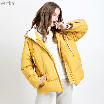 ARTKA 2019 Winter New Women Down Coat 90% White Duck Down Extremely Warm Jacket Yellow Casual Thicken Hooded Down Coat DK10398D artka 2019 winter new women flower embroidery 90% white duck down coat fox fur collar hooded thicken long down coats zk10698d