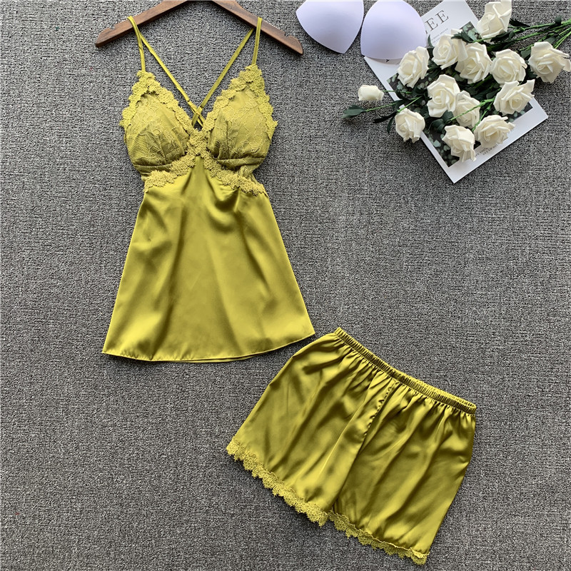 2020 Sexy Spring Camisole Shorts Pajamas Twinset Princess Wind Lace Sexy Reveal Back Silk Pijama
