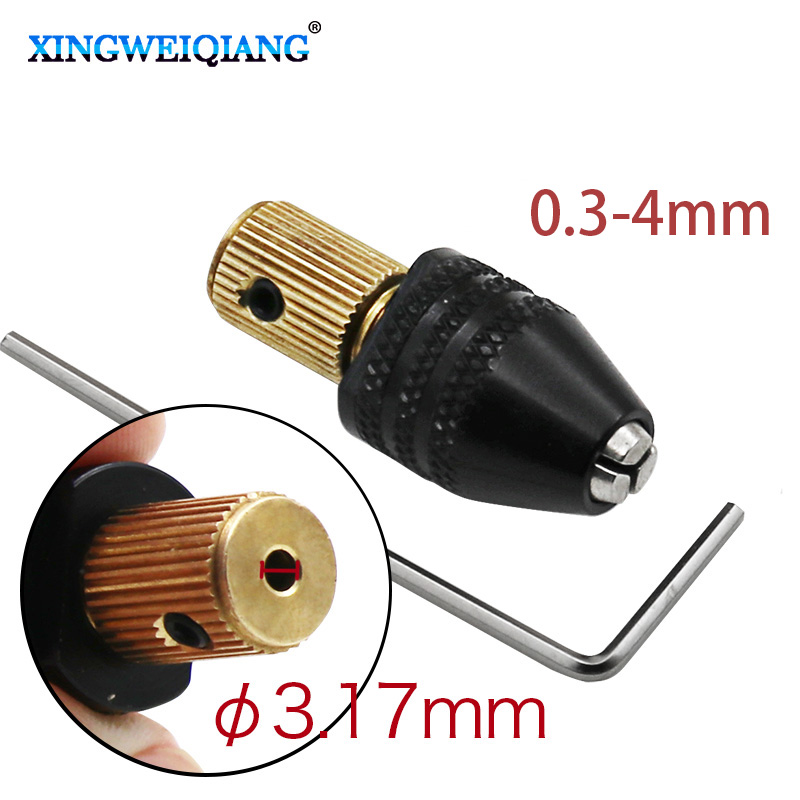 New Copper Keyless Chuck For 3.17MM Electric Motor Shaft Mini Chuck Capacity 0.3-4mm Fit Micro Drill Bit