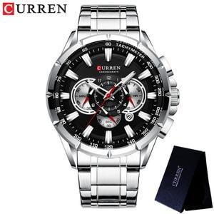 Image 4 - CURREN mężczyzna zegarek wodoodporny chronograf mężczyźni oglądać wojskowy Top marka luksusowe srebrny ze stali nierdzewnej Sport mężczyzna zegar 8363