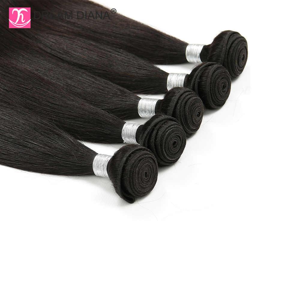 """DreamDiana brazylijski proste włosy wyplata 4 wiązki 8 """"-30"""" naturalny kolor pasma włosów typu remy 100% doczepy z ludzkich włosów niski stosunek"""