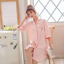 Pajamas Shirt Robe Nightgown Lingerie Homewear Sleep-Tops Womens Summer Negligee Turn-Down-Collar