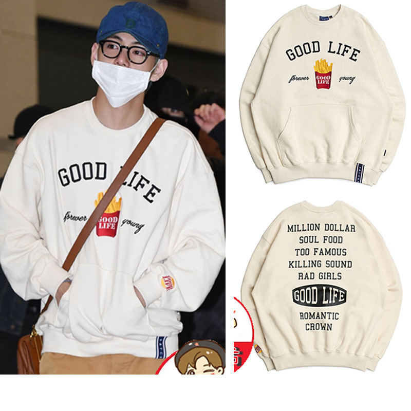 2019 New Style French Fries Hoodie BTS Bulletproof Boys Tj Heng V Celebrity Style Embroidered Printed Crew Neck Loose-Fit Tops