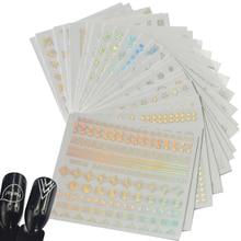 24 adet Mix tasarımlar Bling Bling gökkuşağı çıkartmaları 3D tırnak Sticker DIY güzellik folyo Nail Art manikür lehçe jel dekor TR208