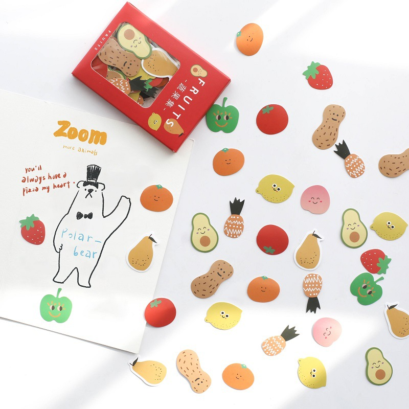 100 Pcs/bag Cute Fruit Bread Expression Decorative Stickers Scrapbooking Stick Label Diary Album Stationery Stickers Accessories