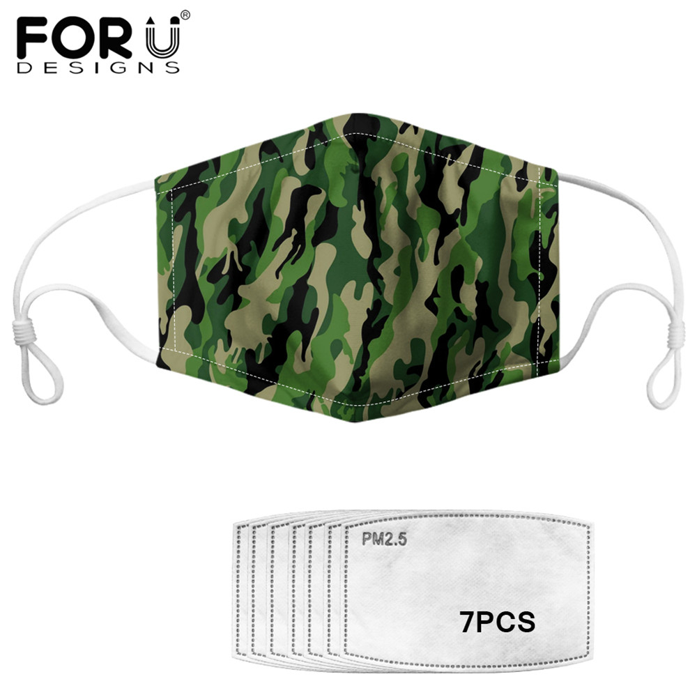 FORUDESIGNS New Men Mouth Cover Masks Camouflage Print 7pcs Anti Haze PM2.5 Filter Multifunctional Outdoor Protection Mask Maske