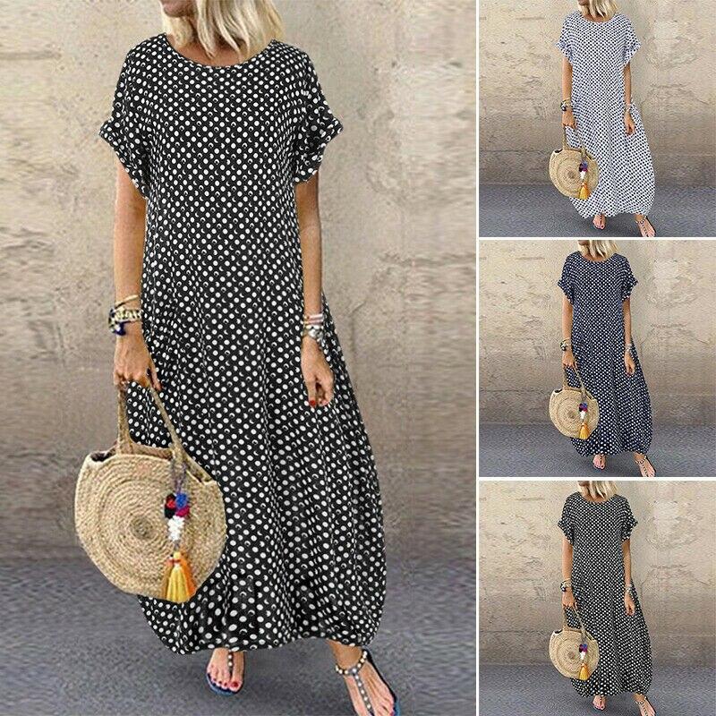 Женский винтажный сарафан 2020, длинное платье макси с круглым вырезом, женское повседневное летнее платье в горошек, пляжные платья в стиле бохо, платья, Халат