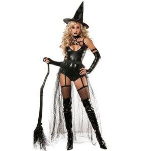 Image 1 - VASHEJIANG Couro Sexy Traje Da Bruxa para As Mulheres Adultas Halloween Sexy Lace Magia Bruxa do Vôo Uniforme Cosplay Traje Engraçado