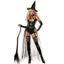 VASHEJIANG Sexy Leder Hexe Kostüm für Erwachsene Frauen Halloween Sexy Spitze Magie Fliegende Hexe Cosplay Uniform Lustige Kostüm
